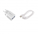 Charger adapter + cable Type - C USB Belly BL-04 2xUSB 2.4A (1 m)